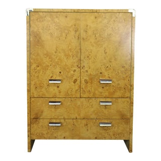1970's Burl Wood and Chrome High Chest in the Style of Milo Baughman