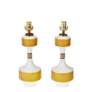 Mid-Century Modern Center Rotary Switch Ceramic Table Lamps- A Pair