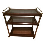 Image of Hollywood Regency Walnut & Brass 3 Tier Bar Cart Server