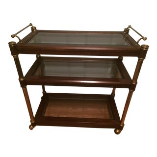 Hollywood Regency Walnut & Brass 3 Tier Bar Cart Server