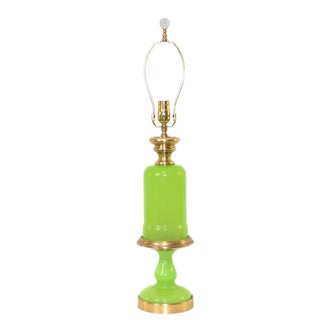 Cenedese Murano Green Opaline Glass Lamp