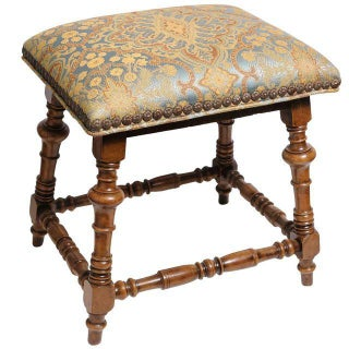 Jacobean Style Gold & Blue Damask Stool