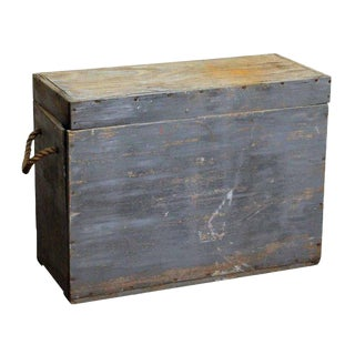 Blue Wood Trunk With Rope Handles