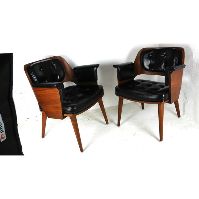 Mid-Century Danish Leather & Walnut Lounge Chairs - A Pair - Image 4 of 10
