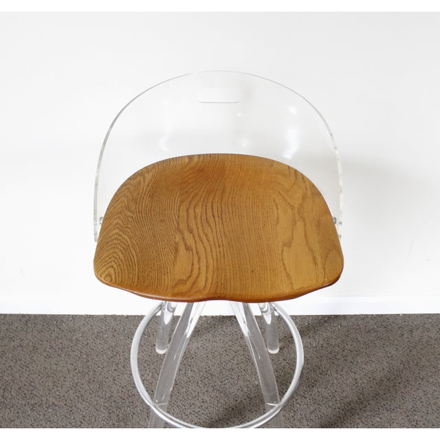 Lucite & Wood Bar Stool - Image 6 of 9
