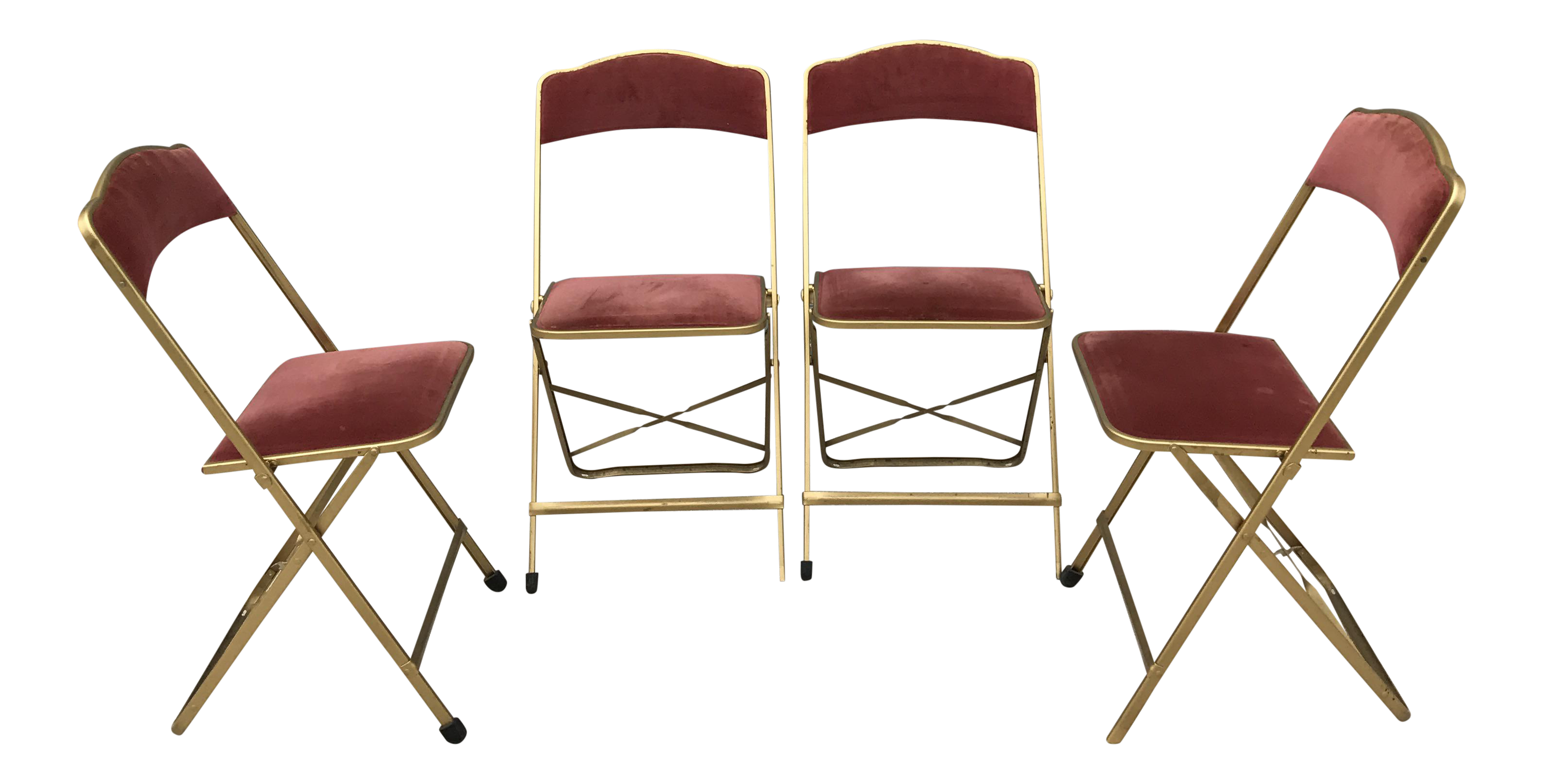 Fritz Mid Century Gold Metal Velvet Folding Chairs Set of 4