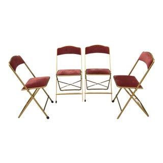 Fritz Mid-Century Gold Metal Velvet Folding Chairs - Set of 4