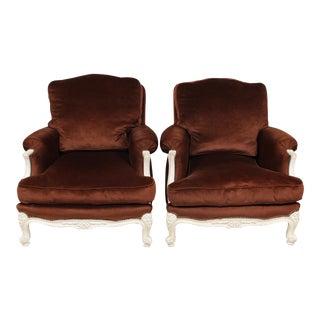 Retro 1970s Brown Louis XV Brown Velvet Bergere Chairs - a Pair