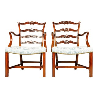 19th-C. English Ribbon Armchairs, S/2