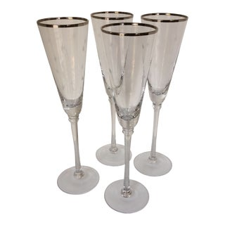 Set Of 4 Silver Rim Etched Starburst Champagne Flutes