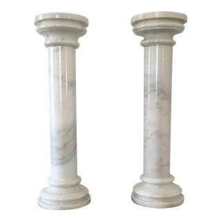 Classic White Marble Columns - A Pair