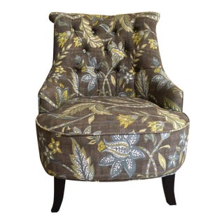 Tufted Floral Slipper Chair