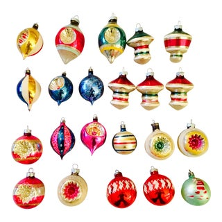 Vintage Glass Christmas Ornaments - Set of 22