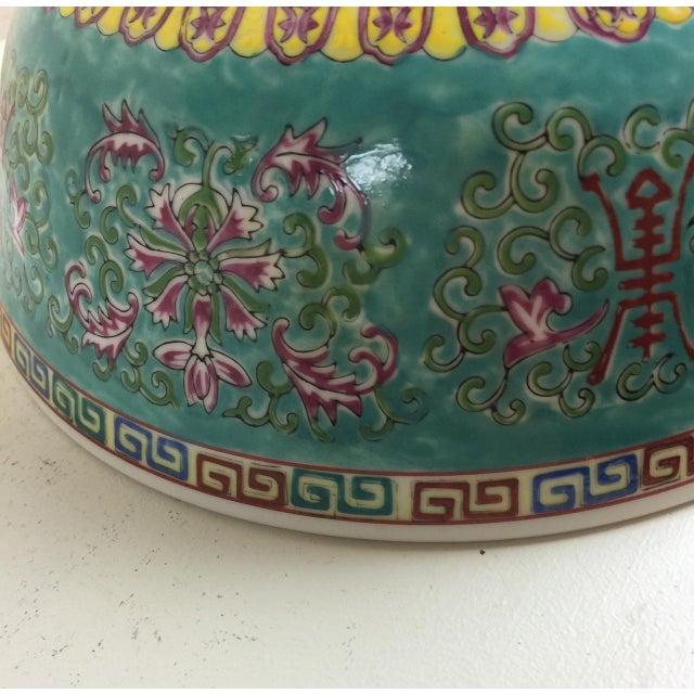 Vintage Asian Turquoise Greek Key Design Bowl - Image 3 of 5