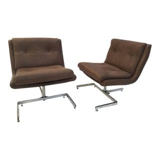 Pair of Restored, Leather Lounge Chairs by 'Raphael', 1973, France Published