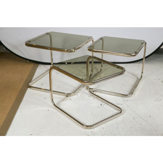 White Gold Finish & Glass Nesting Tables - A Pair - Image 8 of 8