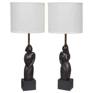 Pair of Art Deco Style Table Lamps With Male and Female Torsos, Mid-Century