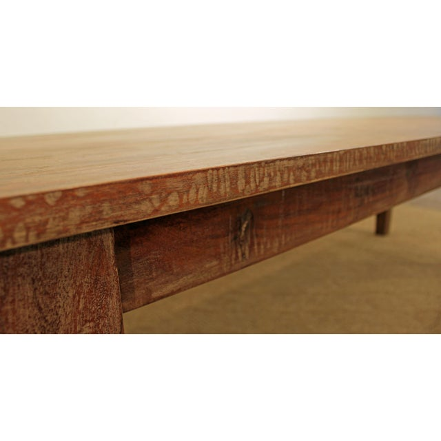 "French Country Farm Rustic Dining Table 90"" Long - Image 6 of 11"