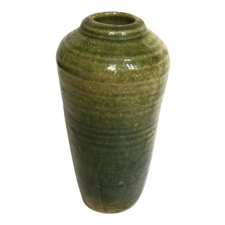 Vintage Hand Thrown Pottery Vase, Green