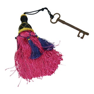 French Iron Skeleton Key With Beaded Tassel