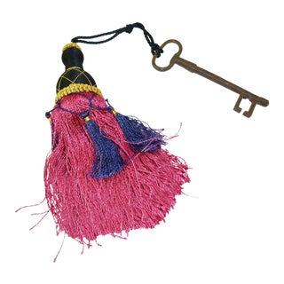 French Iron Skeleton Key With Beaded Tassel