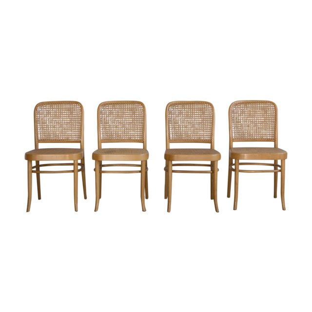 Prauge Cane Bentwood Woven Side Chairs - Set of 4 - Image 1 of 11