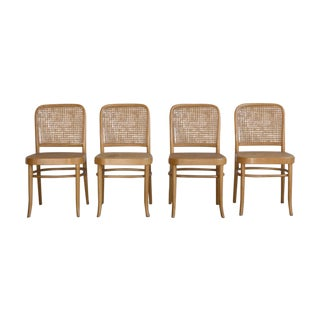 Prauge Cane Bentwood Woven Side Chairs - Set of 4