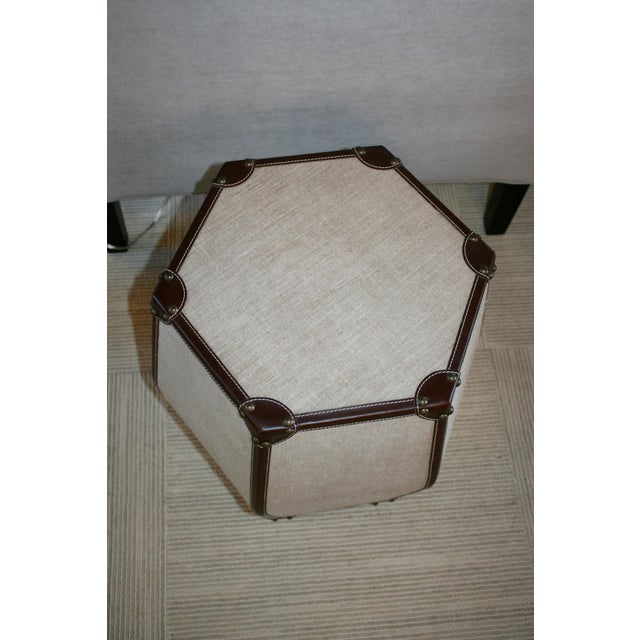 Hexagonal Leather Stool - Image 3 of 3