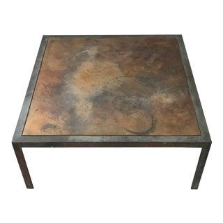 Welded Steel & Bronze Top Coffee Table