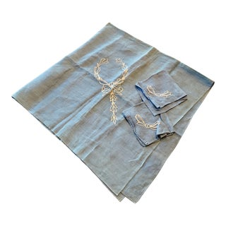 Cornflower Blue Embroidered Tea Linen Set