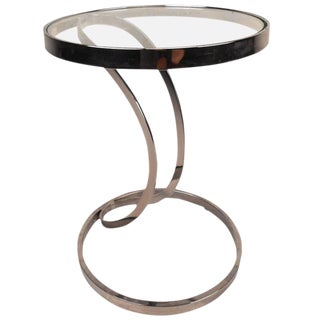 Contemporary Modern Circular Chrome and Glass End Table