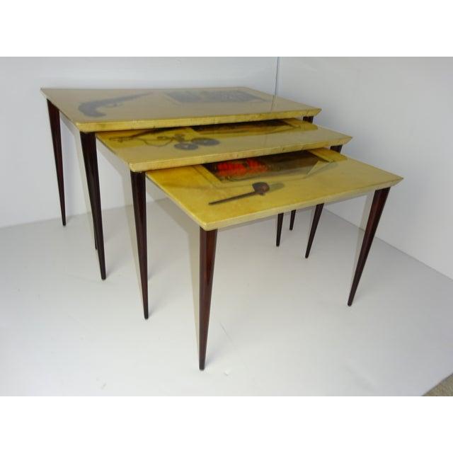 Image of Aldo Tura Parchment Gigogne Tables - Set of 3
