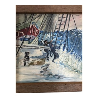 "Vintage Original ""Sea Fishermen"" Oil Painting"