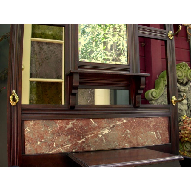 Antique Eastlake Walnut And Marble Shelf Mirror - Image 5 of 8