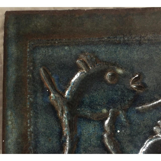 Mid-Century Art Studio Pottery Fish Tile, Trivet - Image 2 of 6