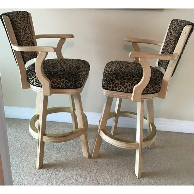 Leopard Print Swivel Bar Stools- A Pair - Image 3 of 6
