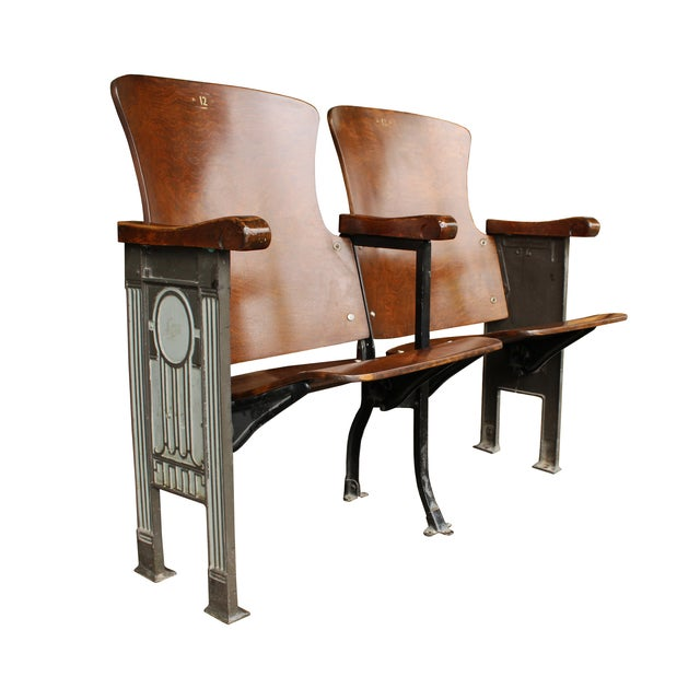 Image of Salvaged Folding Wood Theater Chairs - Pair