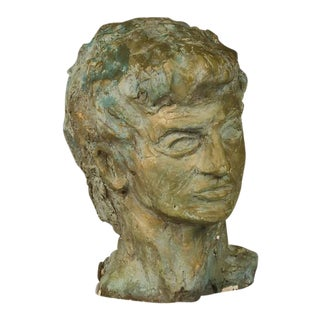 Striking Sculpture of a Male Head in Patinated Plaster from France c.1930.