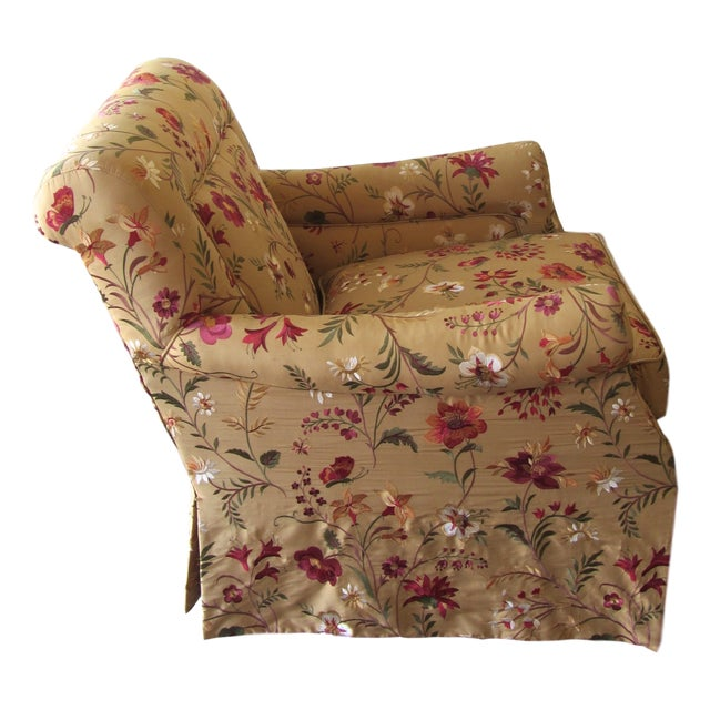 Silk Embroidered March Rocker Swivel Glider Chairs - a Pair - Image 2 of 6