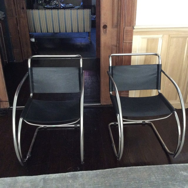 Restoration hardware leather metal chairs a pair chairish for Restoration hardware metal chair