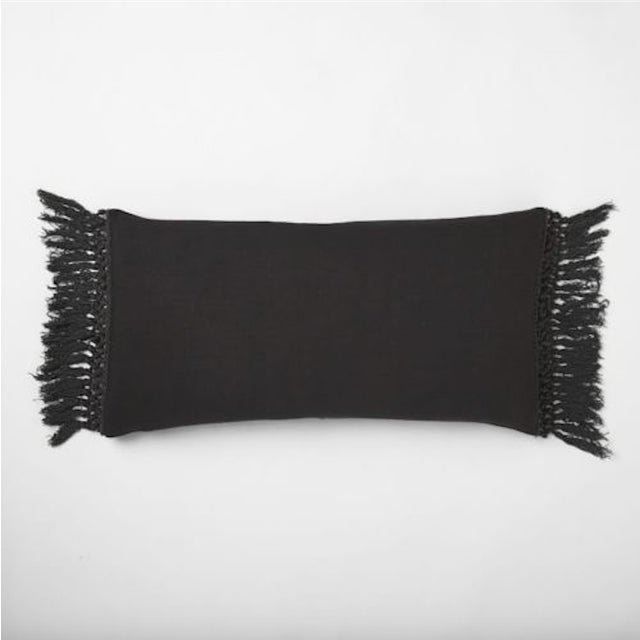 West Elm Slate Grey Tassel Pillow Covers - A Pair - Image 2 of 11
