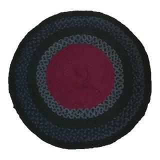 Vintage Americana Hand-Braided Round Rug- 3′3″ × 3′3″