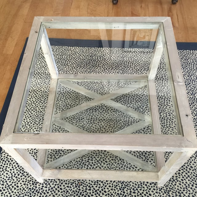 Side Tables Gray-Wash Glass Top - a Pair - Image 4 of 5