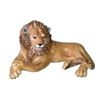 Vintage Italian Handcrafted Ceramic Lion