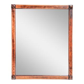 19th-C. Antique Oak Beveled Glass Mirror