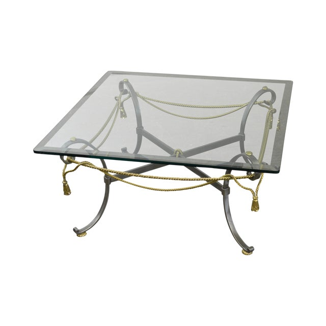 LaBarge Brushed Steel & Brass Rope Tassel Square Glass Top Coffee Table - Image 1 of 10