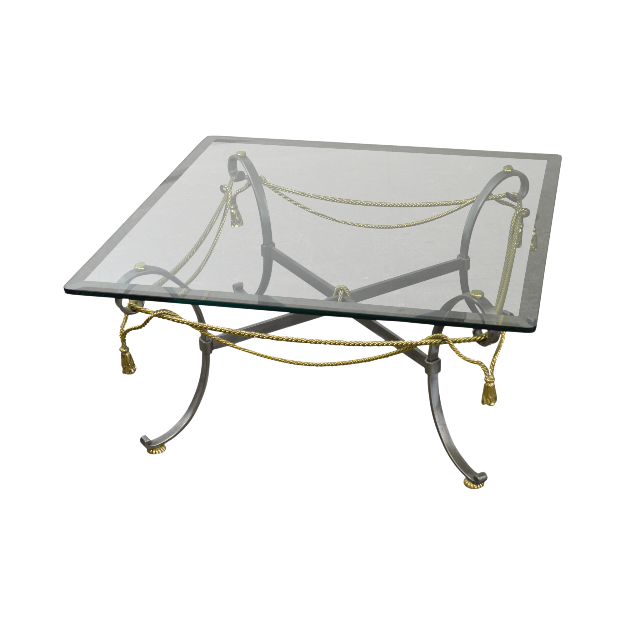 Amazing LaBarge Brushed Steel U0026 Brass Rope Tassel Square Glass Top Coffee Table