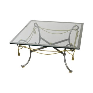 LaBarge Brushed Steel & Brass Rope Tassel Square Glass Top Coffee Table