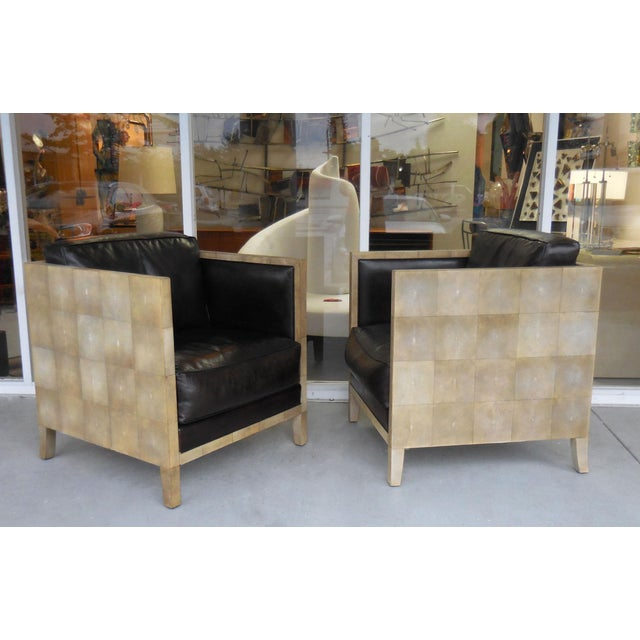 Image of Pair of Jean-Michel Frank Style Shagreen Club Chairs