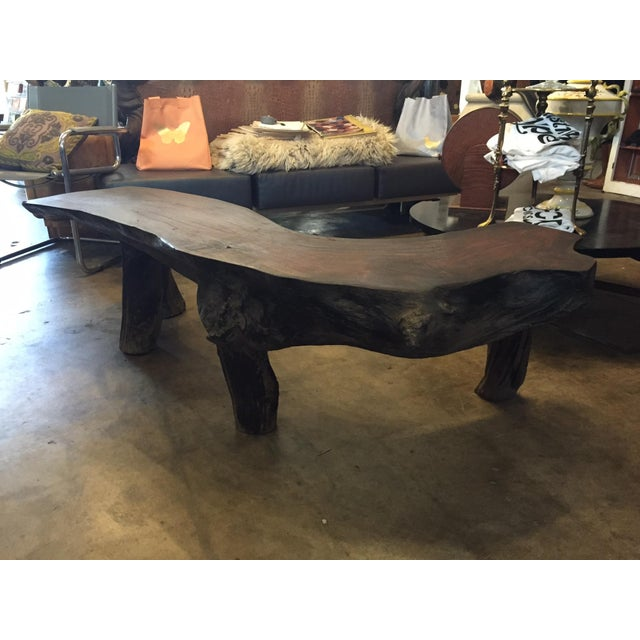 Organic Natural Iron Wood Curved Rustic Bench - Image 3 of 11